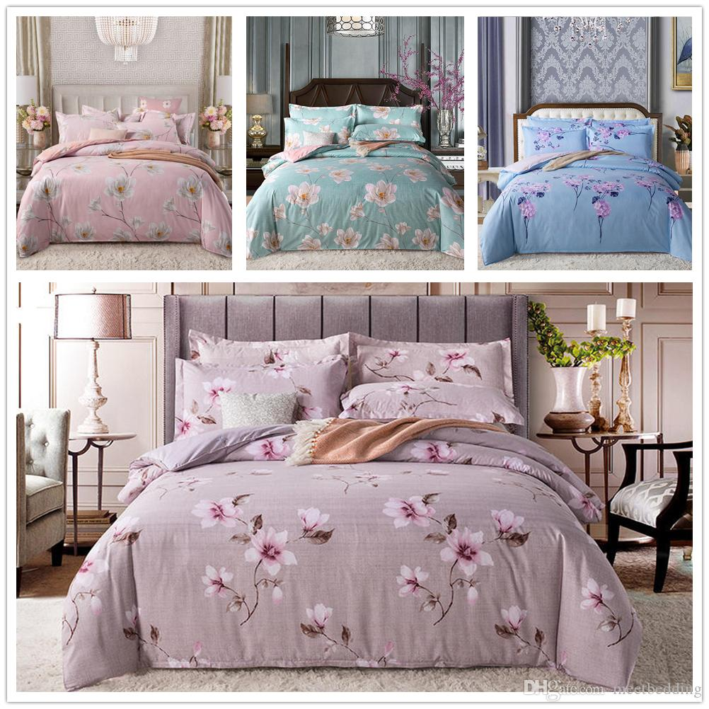Simple Elegant Style Bedding Set Twin Full Queen Size with Colourful Flowers Bedspreads 2/3pcs for Girls Adult of Bedding Suit