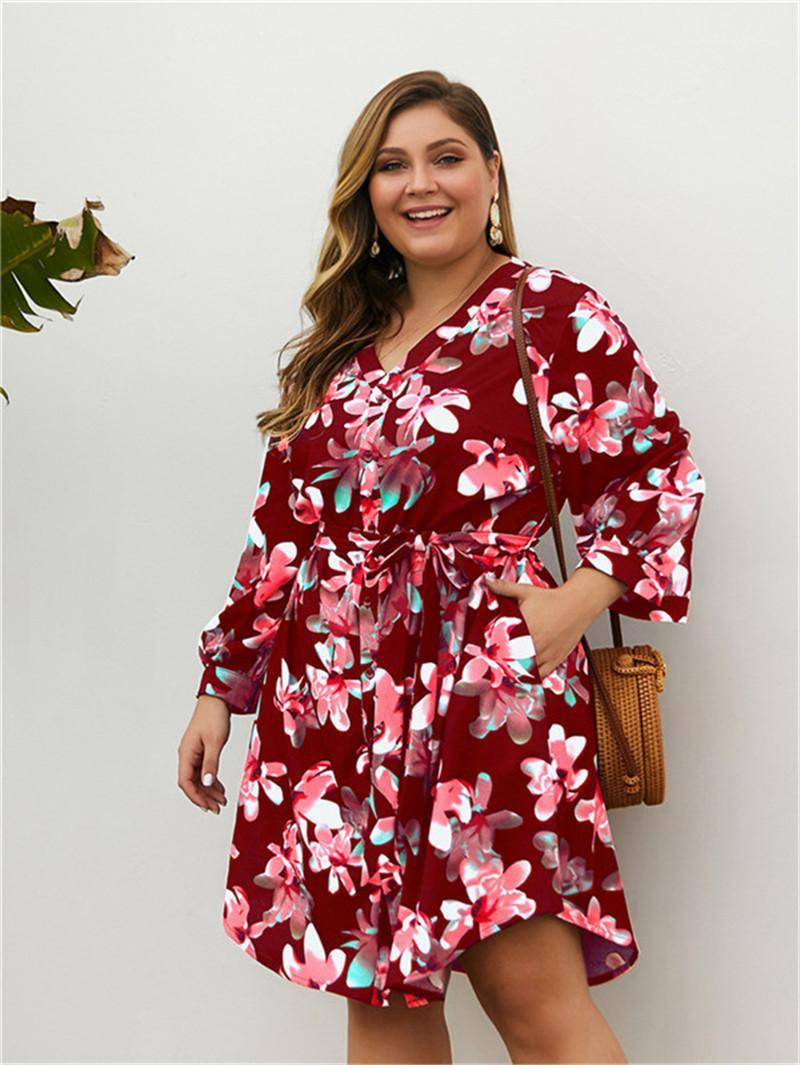 Plus Size Kleider mit Schärpen Womens Button Lose Kleid Frauen Blumenkleider Mode V-Ausschnitt Langarm Asymmetrisch