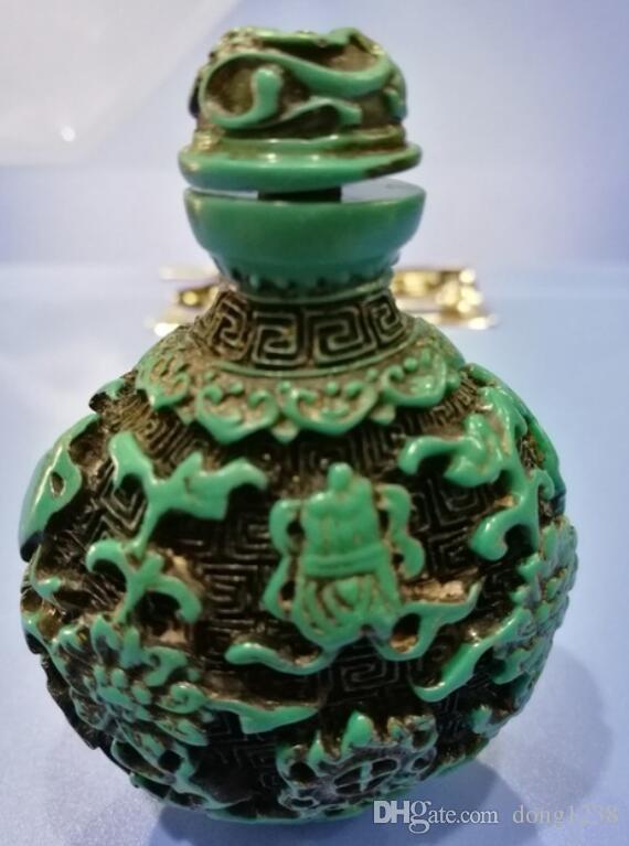 China Folk velho lindamente esculpida turquesa rapé garrafa A05