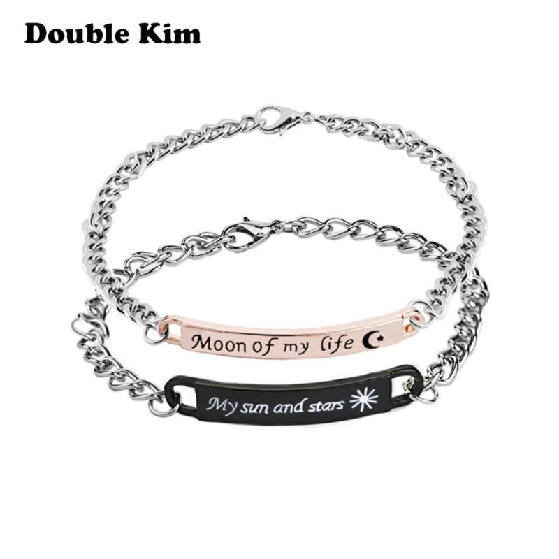 Personalizzati Coppie di mano degli uomini monili delle donne in oro rosa catenaria d'acciaio di titanio braccialetto Handmade Moda Amicizia metallo Romantico