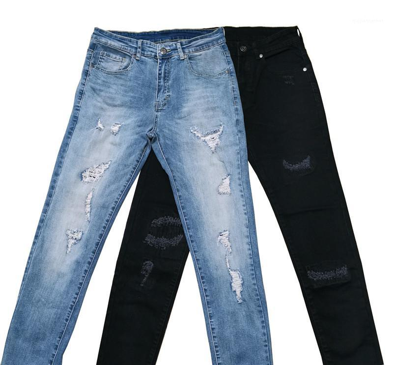 Clothing 2020 Designer Mens Holes Jeans Skinny Pencil Pants Fashion Male Casual Washed Out Jeans Mens