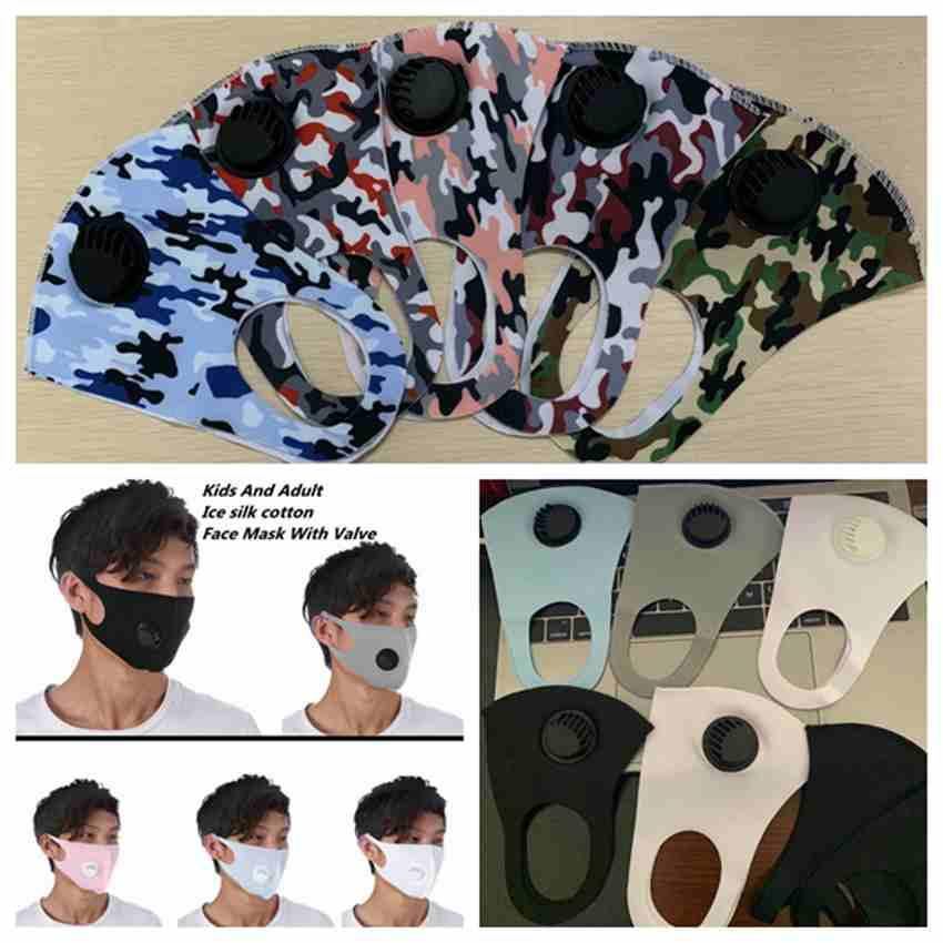 10 Colors Adult Kids Face Mask Breathing Valve Mask Washable Reusable Anti-Dust Camouflage Face Masks Ice Silk Cotton Masks ZZA2428
