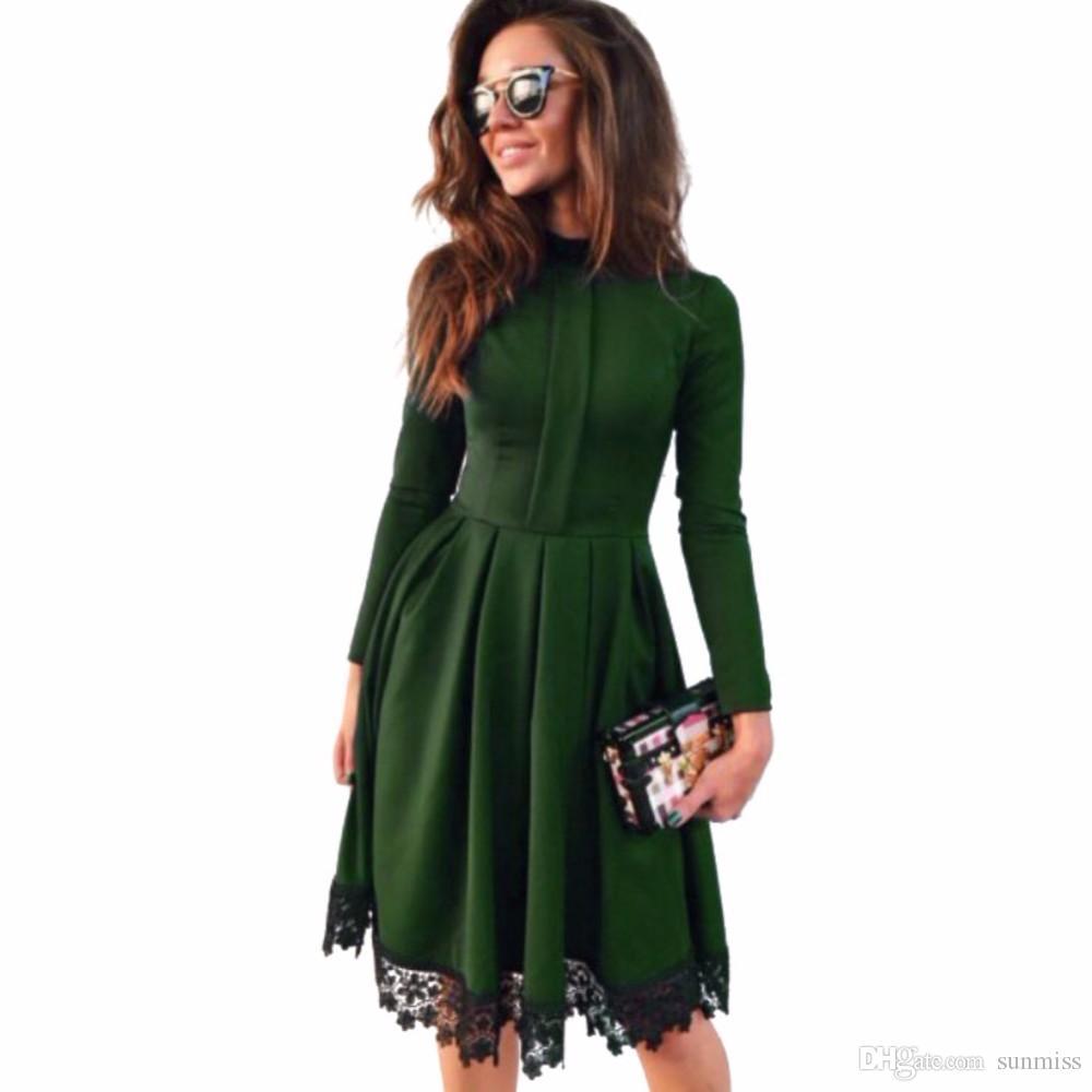 2018 Новая Мода Весна Лето Женщины Платье Повседневная Платье С Длинным Рукавом Зеленый Партия О-Образным Вырезом Кружевные Платья Плюс Размер S-5XL Размер