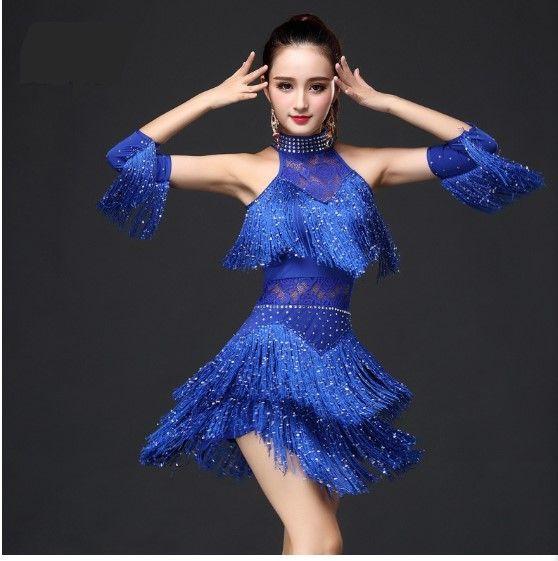 vestito da ballo 5 colori latino per le donne / ragazze, Blu Rosso Nero sexy Sequin nappa frange vestito per Salsa / sala da ballo Costumi di ballo latino