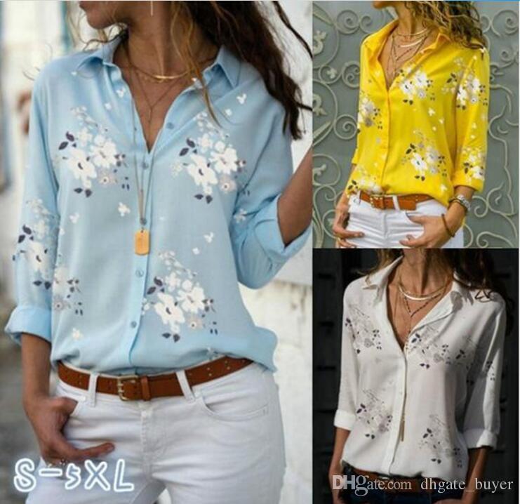 Kadın Üstleri Bluzlar Sonbahar Zarif Uzun Kollu Baskı V Yaka Şifon Bluz Kadın Iş Elbisesi Gömlek Artı Boyutu 5XL Blusa
