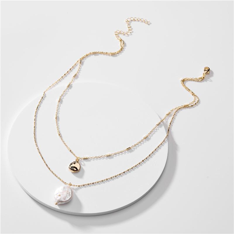 Art und Weise Multi Layered simulierte Perlen-Halsketten-Kragen-Statement Brief C Halskette Women's Schmuck Geschenke
