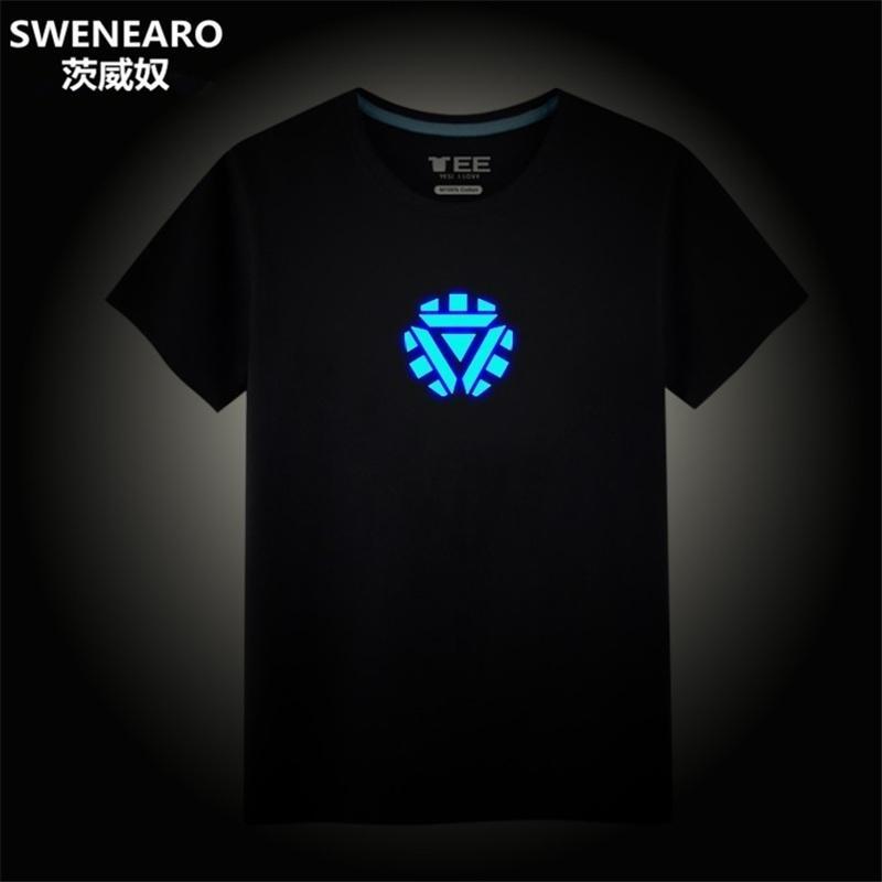 Avengers Endgame Anime Hommes Iron Man Été Tony Stark T-shirt Marvel Tops Streetwear T Shirt Homme Vêtements T-shirt Noir Q190518