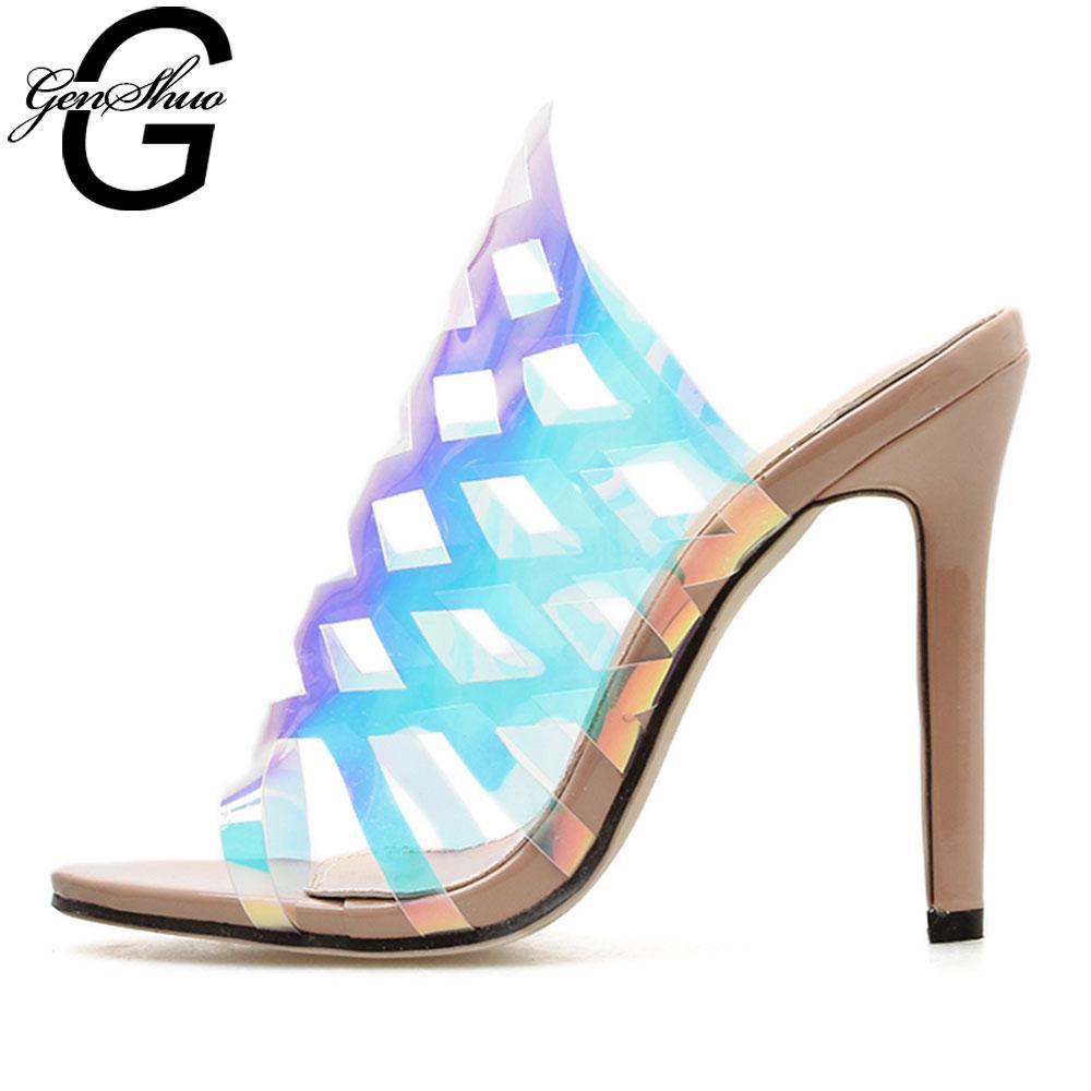 GENSHUO Женская обувь с открытым носком Блестящие сексуальные полые туфли для ночного клуба Высокие каблуки на шпильках Дамы Sandalias Mujer Тапочки 2019 года