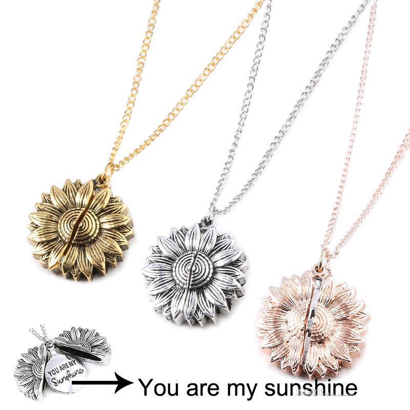Rose Gold Silber Individuelle Sonnenblume Halskette Sie sind mein Sonnenschein öffnen Medaillon Sunflower-Kragen-Halskette Ladys Mädchen Freunde Schmuck Geschenk