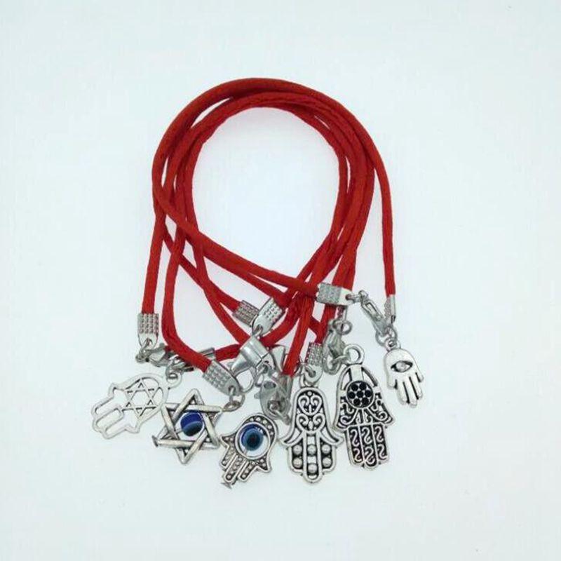 Viel Glück Hamsa Hand Kabbalah Red String Armbänder Für Frauen Modeschmuck Vintage Silber Charms Armreif Party Geschenk Freundschaft 100 Stücke