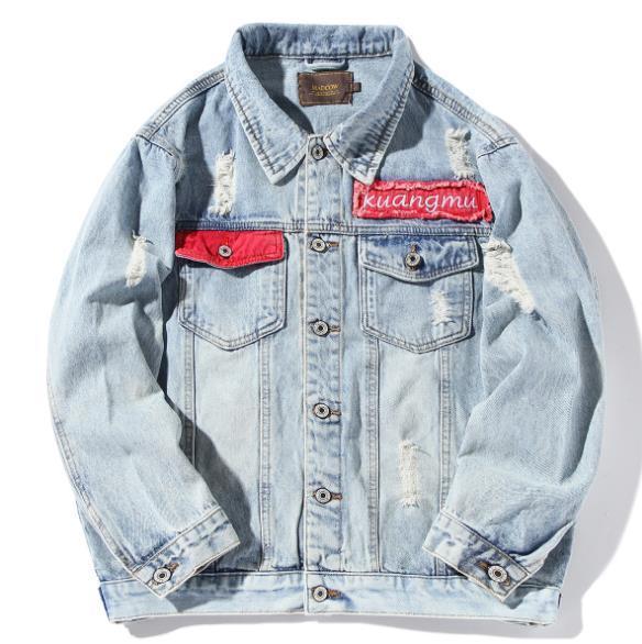 디자이너 데님 재킷 남성 가을 놓은 스티커 겉옷 패션 브랜드가 느슨한 된 오버 사이즈 코트를 세척 데님