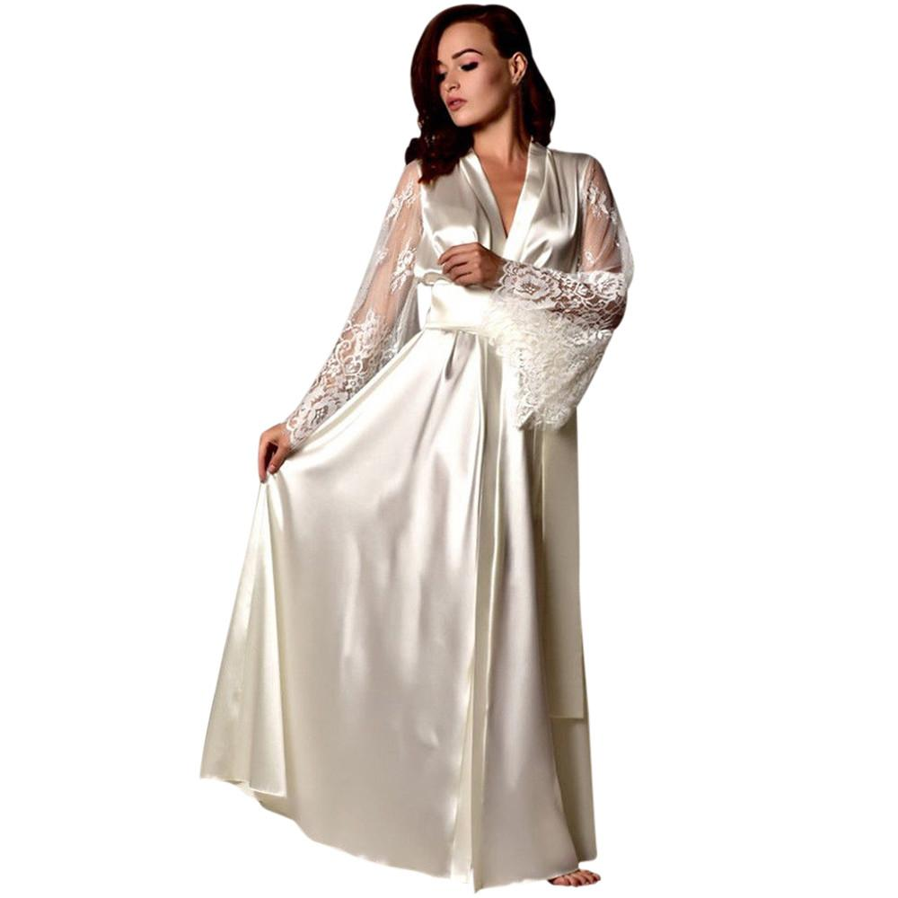 Women Pajamas Women Satin Long Nightdress Silk Lace Lingerie Nightgown Sleepwear Sexy Robe nightgown sexy lingerie hot @8