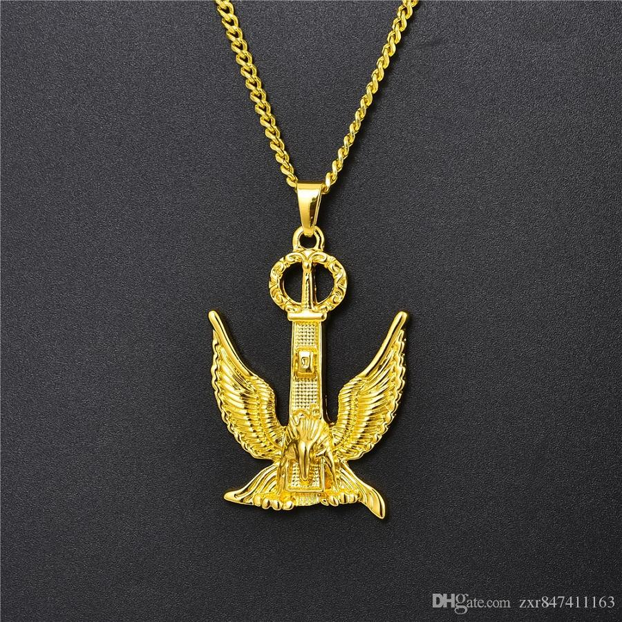 Wholesale Wholesale Hip Hop Mens Gold Eagle Pendant Necklace Men Jewelry New Fashion Designer Cuban Link Chain Punk Necklaces For Mens Women Gifts Rose Gold Necklace Opal Necklace From Zxr847411163 6 82 Dhgate Com
