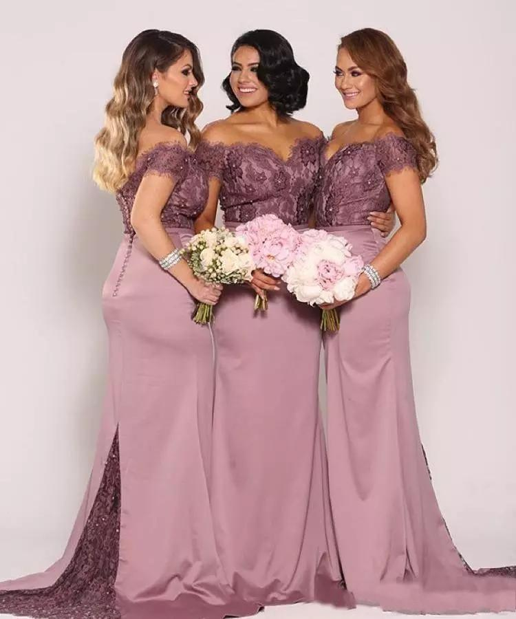 2019 New Mermaid Lace Bridesmaid Dresses Plus Size Cheap Formal Maid of Honor Gowns Backless Long Off the Shoulder Bridesmaids Gowns