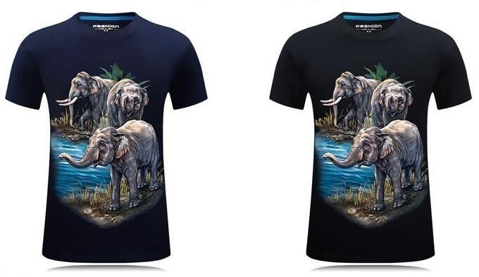 T-shirt à manches courtes pour hommes avec conception tridimensionnelle à trois éléphants en 3D, col rond personnalisé pour animaux et grand t-shirt