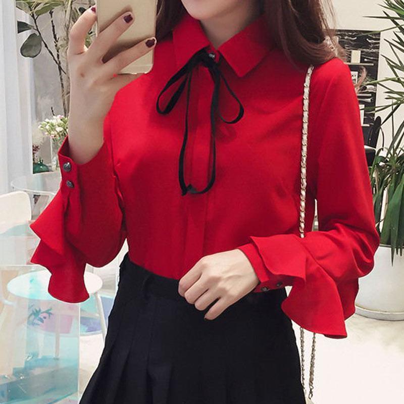 새로운 2020 여성 우아한 검은 나비 넥타이 칼라 사무실 화이트 블라우스 쉬폰 캐주얼 셔츠 여성 학교 블라우스 패션 탑
