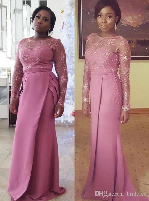 Lace Beaded 2019 Arabic Bridesmaid Dresses Long Sleeve Mermaid Satin Maid Of Honor Dress Sexy Light Purple Evening Gowns