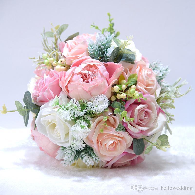 신부 부케 웨딩 모란 장미 열매 녹색 잎 크림 핑크 블루 퍼플 레드 수제 인공 웨딩 부케 BW-D662