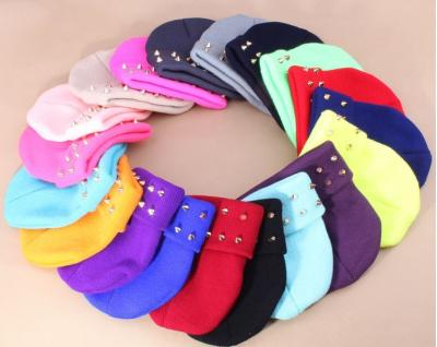 Candy color skull knitted jelly fluo plastic rivets Warm Wool Caps Neon Harajuku Studded Rivets Knitted Hats