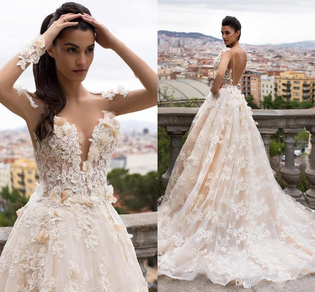 New Design Modern A Line Wedding Dresses Lace Appliques Flowers Illusion Long Sleeves Sweep Train Open Back Plus Size Formal Bridal Gowns
