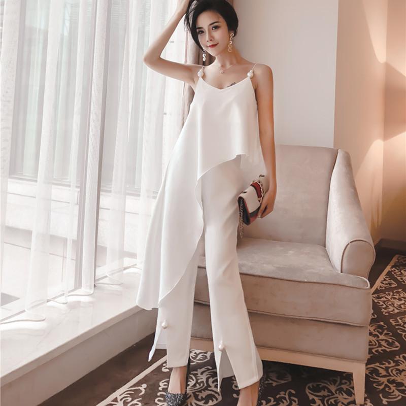 2 peça set 2019 nova moda temperamento pérola estilingue top irregular + aberto calças de cintura alta conjunto