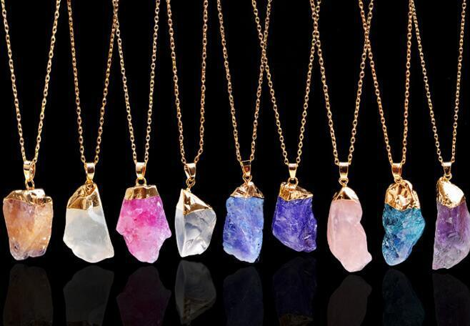 حار بيع الأحجار الكريمة الطبيعية المعلقات قلادة من الذهب سلسلة بيان القلائد روز كوارتز شفاء بلورات مجوهرات للنساء بنات