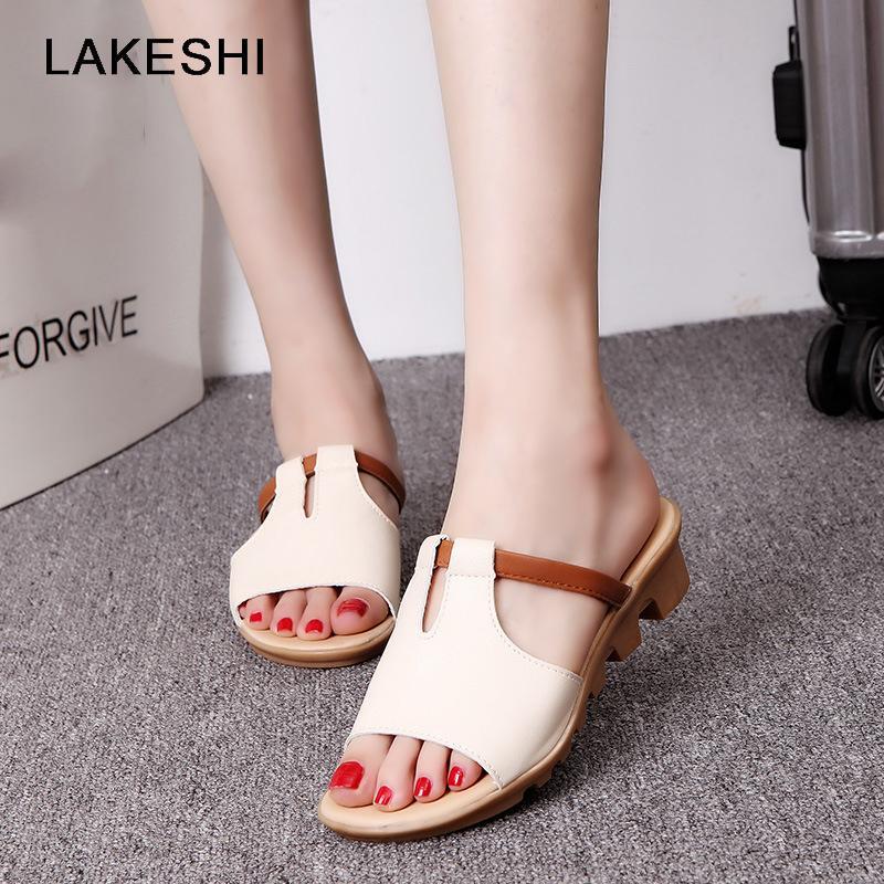 Deslizadores de las mujeres de la cuña sandalias de las mujeres de los zapatos ocasionales del dedo del pie del pío de los zapatos de playa al aire libre Chanclas de verano de mujeres sandalias de las señoras