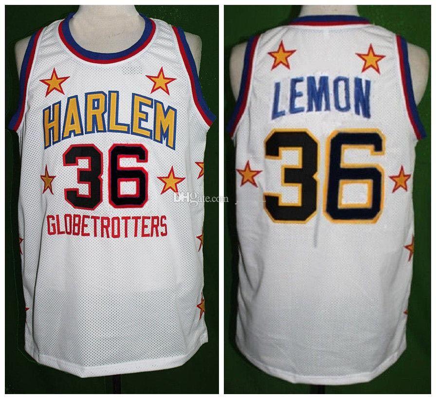 # 36 meadowlark Zitrone Harlem GlobetTrotter Retro Klassische Basketball-Jersey-Mens Nähte benutzerdefinierte Nummern- und Name Trikots