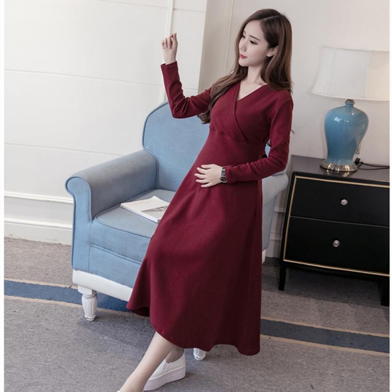 2020 ropa de maternidad primavera y otoño nuevo de la manera vestido de maternidad arco V-cuello ropa de enfermería de Corea de manga larga