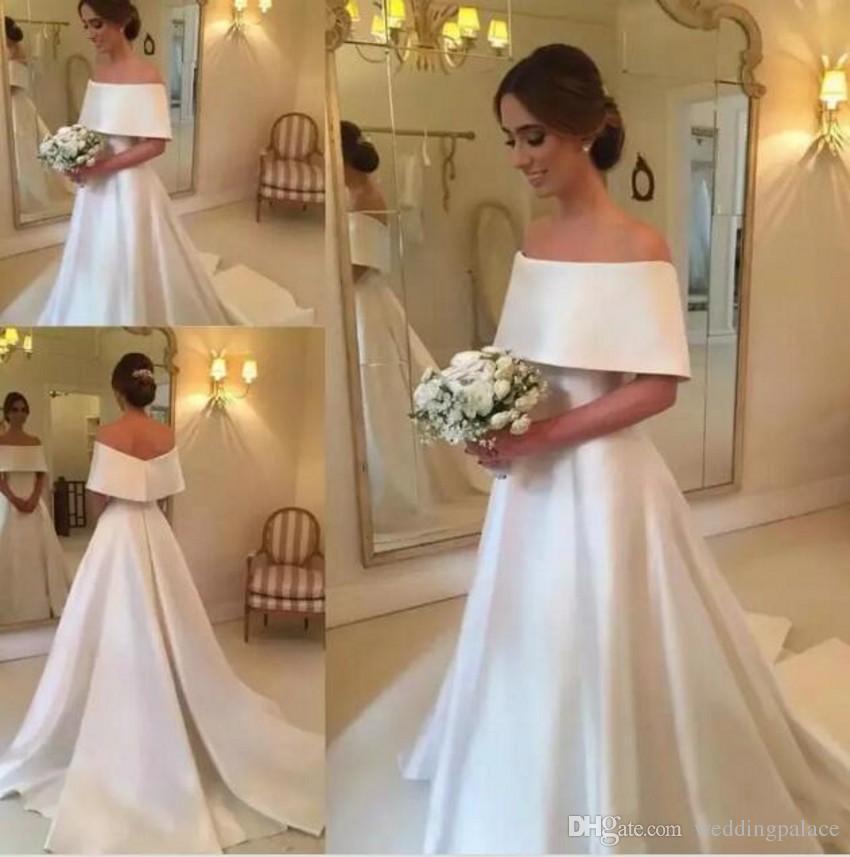 Hombro elegante vestidos de satén una línea vestidos de novia Bateau barrer tren vestidos de boda simple del tamaño extra grande