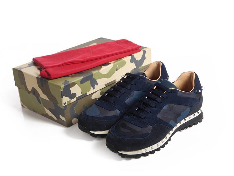 Top qualité des femmes des hommes cuir clouté Roche Runner Chaussures Camo Camouflage Chaussures cloutées Rockrunner Formateurs Casual Chaussures de sport Chaussures de marche