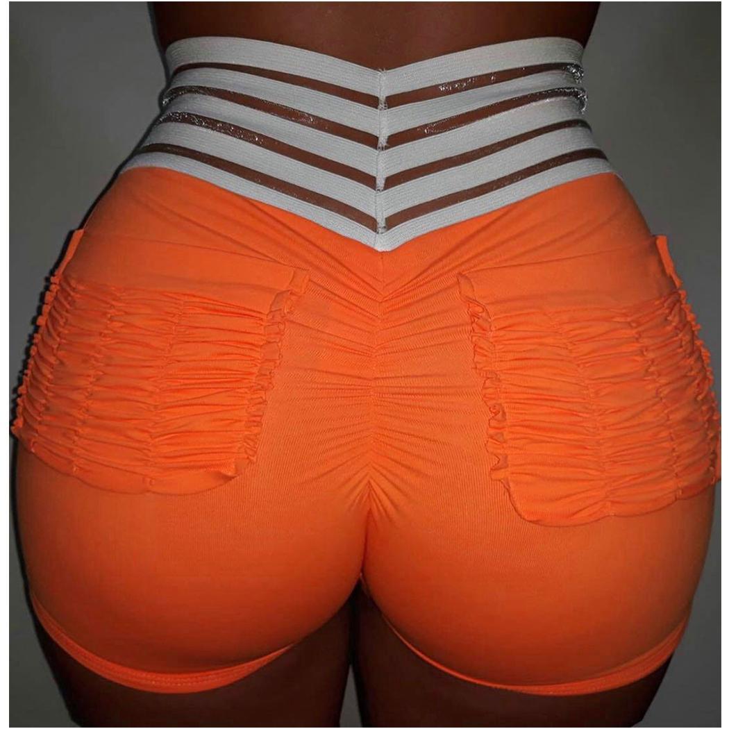 Wholesale-8 цветов высокого Упругие Crumple шорты женщин Summer Work Out Booty Shorts Мода Дамы Повседневный Спорт-футляр с карманами