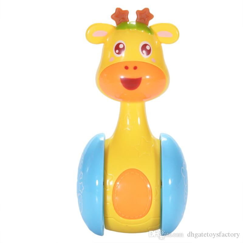 Cartoon Giraffe Tumbler Doll Cute Rattles Ring Bell for Newborns 3 to 12 Month Early Educational Toy Unisex Roly Poly Baby Toys