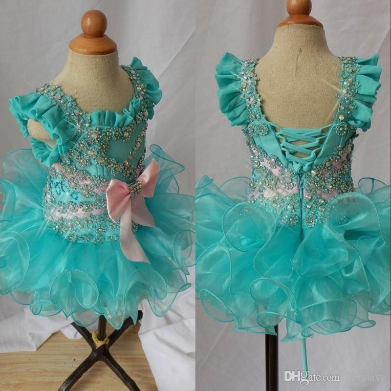 Cupcake toddler for little girls glitz scoop beaded bow green spaghetti lace up organza ball gowns girls pageant dresses glitz kids formal