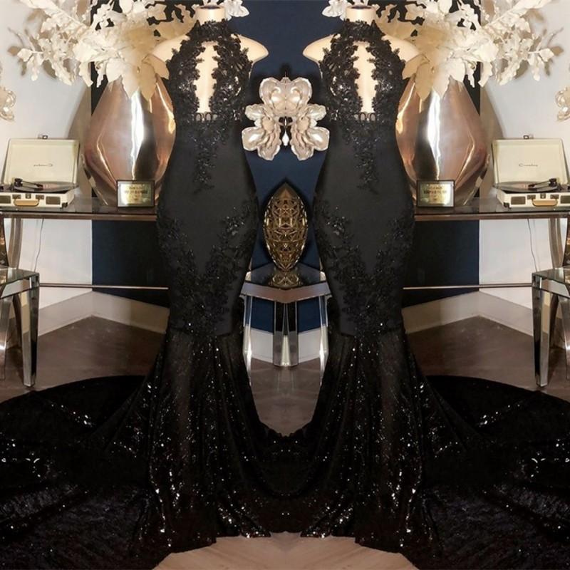 새로운 섹시한 반짝 댄스 파티 드레스 2020 인어 블랙 장식 조각 레이스 아플리케 등이없는 이브닝 드레스 임신 파티 가운