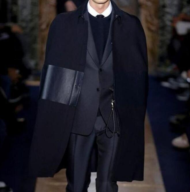 S-6XL QUENTE 2018 Primavera Masculina Nova Moda Personalizado personalizado solto manto manto capa no longo casaco de lã