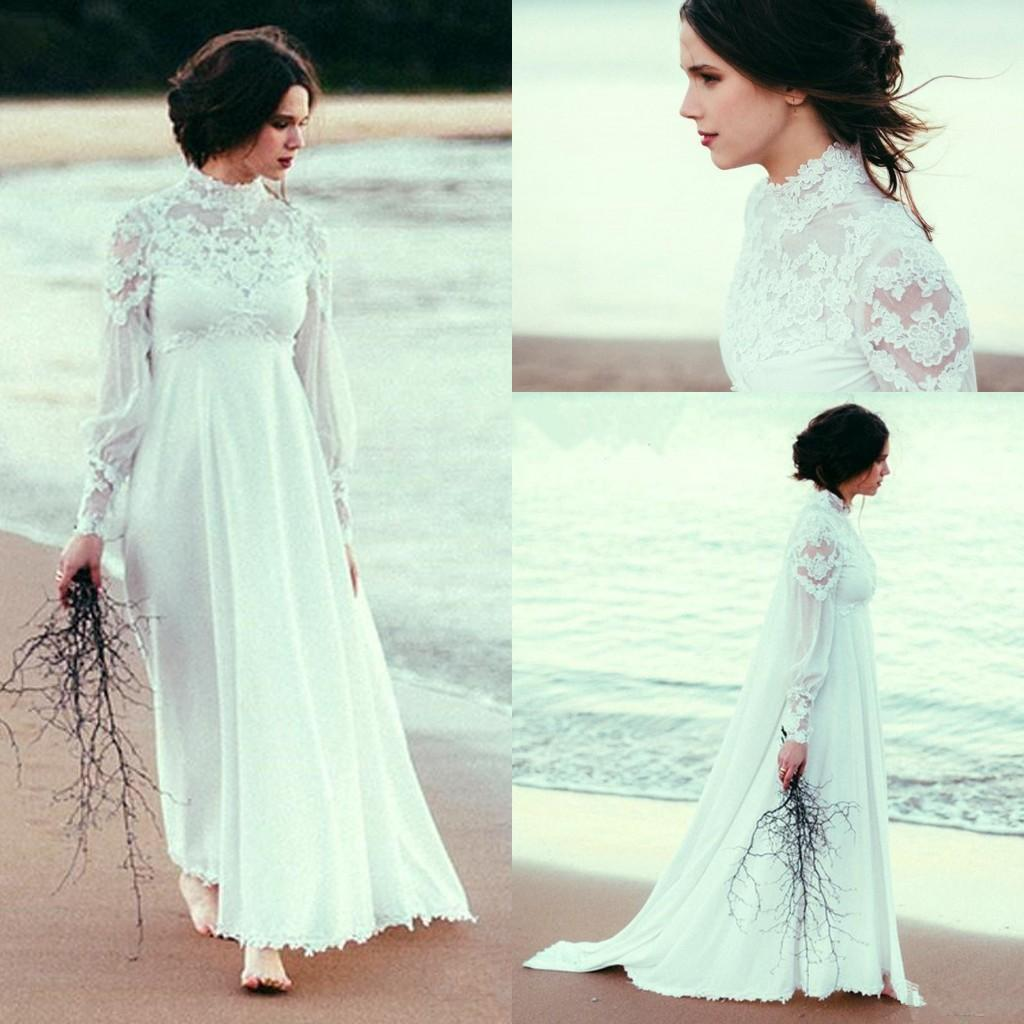 High Neck Beach Wedding Dresses With Long Sleeve Lace Chiffon Empire Waist Country Bohemian Pregnant Bridal Wedding Gown CG01