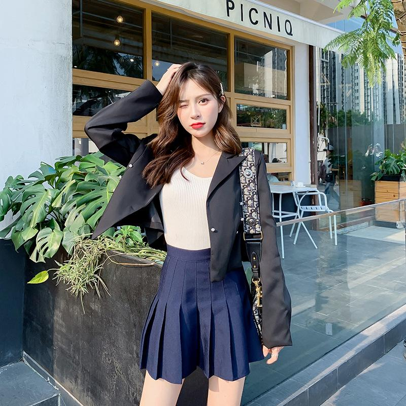 Photo Shoot 2019 Autumn New Style Black And White with Pattern Small Suit Fashion Decoration Pearl Clasp Korean-style Short Jack