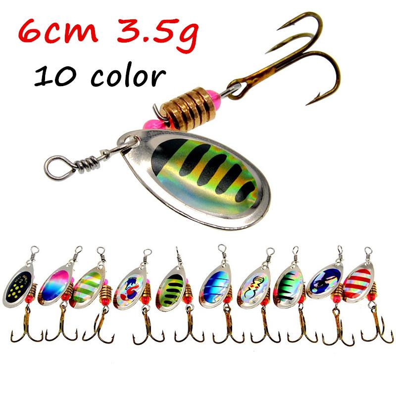 10pcs/lot 10 Colors Mixed Spinner Metal Baits & Lures 6# Fishing Hooks BL_14