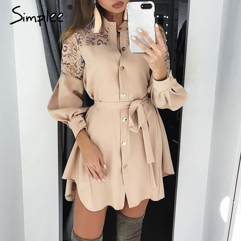Simplee Elegant Lace Mesh Embroidery Women A-line Dress Long Sleeve Button Office Ladies Dresses Solid Sashes Summer Shirt Dress Y19052901