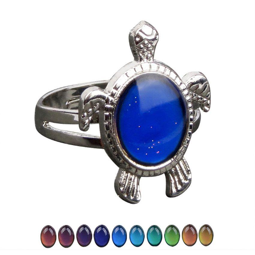Commercio all'ingrosso 10 pc argentano placcato Tortoise forma può cambiare i colori di vetro ridimensionabile Finger Jewelry Anello Unico
