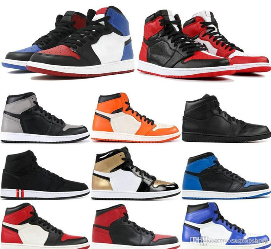 2019 Nuovo 1 High OG Bred Toe Chicago Gioco vietato Scarpe da pallacanestro reali Uomo 1s Top 3 Shattered Backboard Shadow Multicolor Sneakers