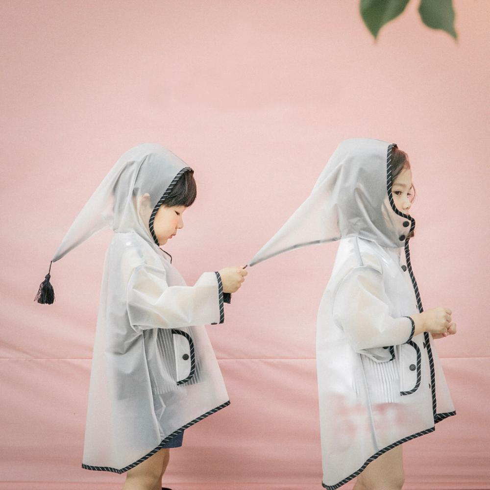 Hot sale eco-friendly children EVA raincoat with elf hat Children's transparent raincoat with hooded tassels big hat