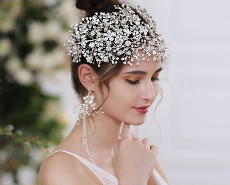 Ücretsiz Shpping Muhteşem Bling Düğün Mücevherleri Gelin Tiaras Hairgrips Kristal Rhinestone Headpieces Kadınlar Balo Parti Saç Taçlar
