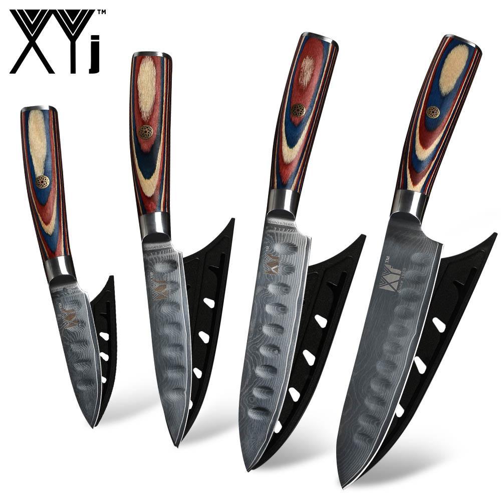 VG10 Şam Mutfak Bıçağı XYj 67 Katmanlı Japon Şam Çelik Bıçak Renk Ahşap Saplı
