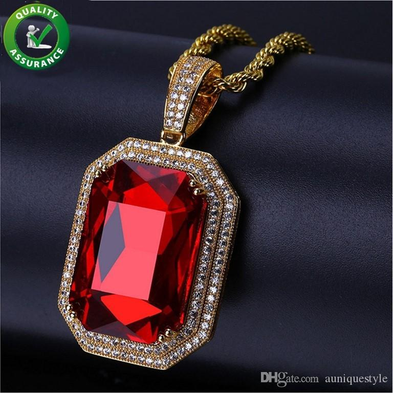 Hip Hop Designer Jewelry Gold-Tone Iced Out Square Red CZ Stone Pendant Rope Chain Necklaces Luxury Rock Rap DJ Fashion Wedding Accessories