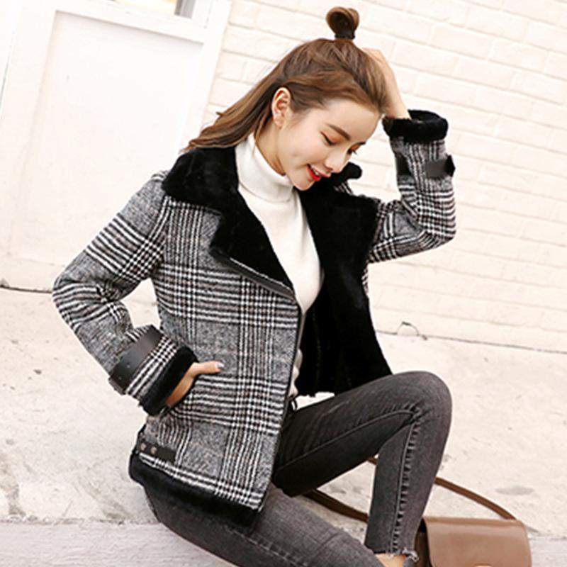 2020 Fashion Autumn Winter Coat Women Woolen Coat Plaid ...