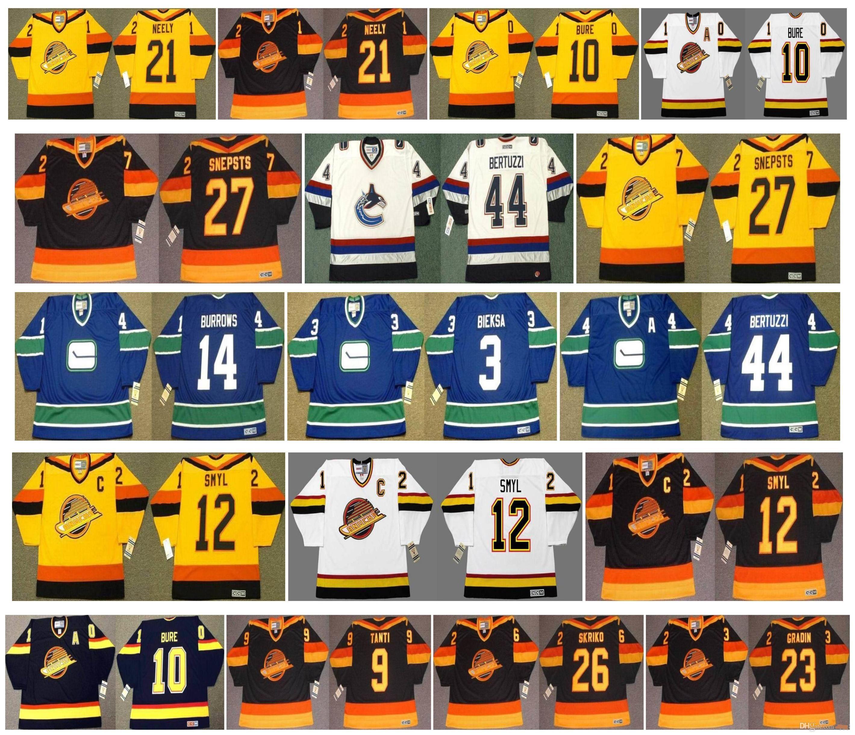 Vancouver Canucks Vintage Jersey 14 Alexandre Burrows 3 Kevin Bieksa 44 Todd Bertuzzi 27 Harold Snepsts 12 Stan Smyl cam neely Hockey Retro