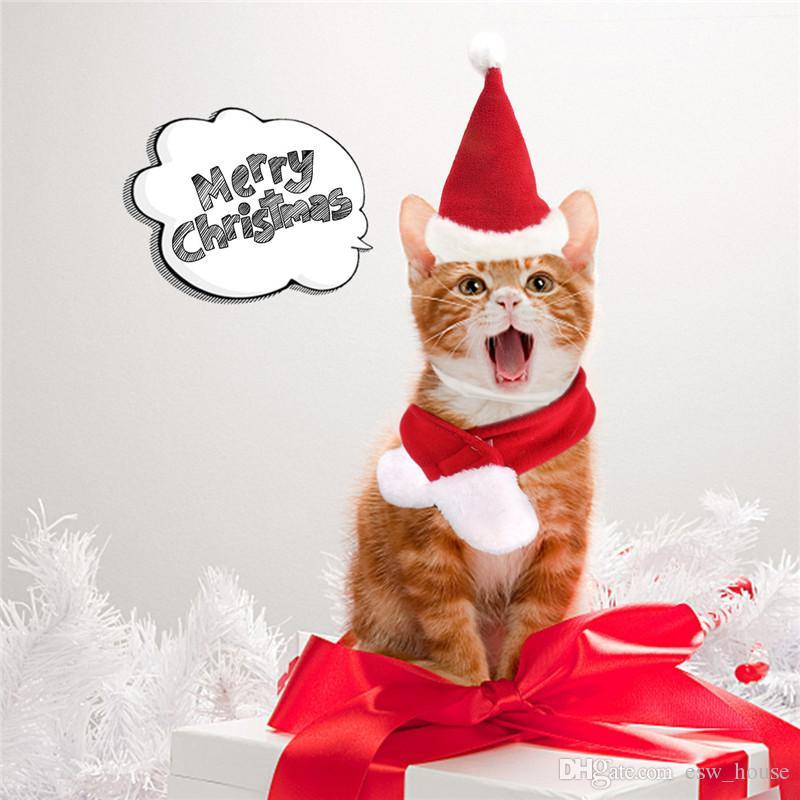Frohe Weihnachten Haustier Kappen Welpen-Sankt-Hut Schal Set Kitty Winter warm Neckchief Kleintiere Chritsmas Kostüm Set