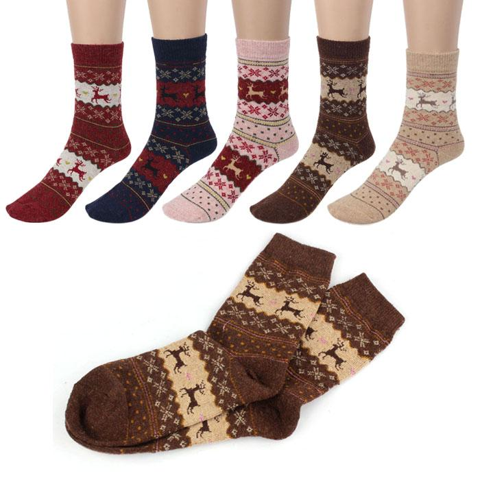 Cute Christmas Deer Design Casual Knit Wool Socks Warm Winter Mens Women fashion christmas socks gift calcetines